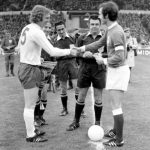 England's captain Bobby Moore, left, shakes hands with West Germany's captain Franz Beckenbauer at Wembley Stadium, London, April 29, 1972, before the start of the European Nations Cup, quarter final, first leg. (AP Photo/Staff/Harris)