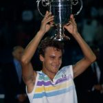 11 Sep 1988, Queens, New York City, New York State, USA --- Mats Wilander lifts the winner's trophy for the crowd to see after winning the 1988 U.S. Open tennis tournament. --- Image by © Rick Maiman/Sygma/Corbis