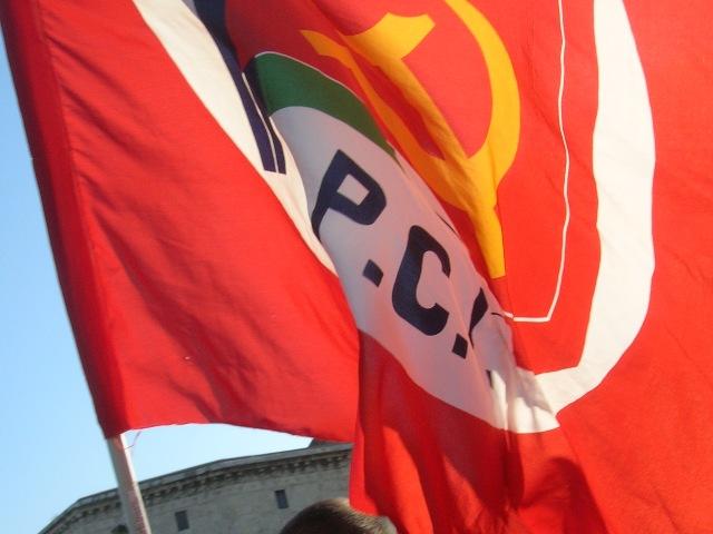 La bandiera del Partito Comunista Italiano