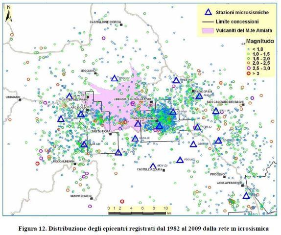 La mappa fornita da SOS Geotermia Amiata sui fenomeni sismici a Piancastagnaio