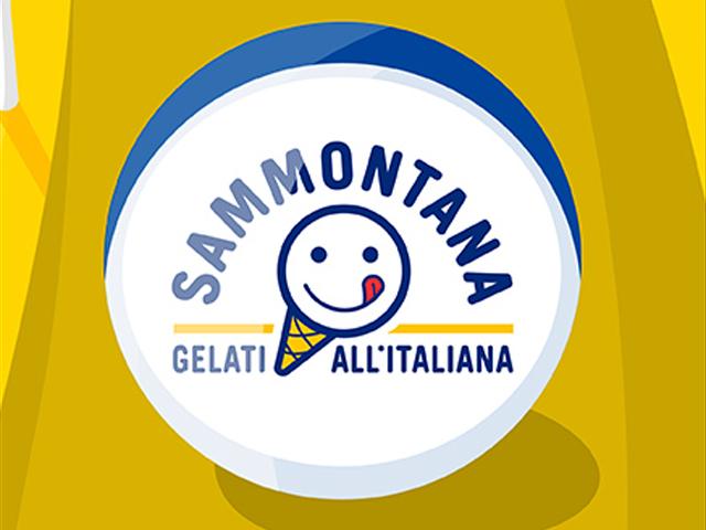 Il nuovo logo di Sammontana raffigurato in una biglia da spiaggia (tratto dalla campagna promozionale 2015)