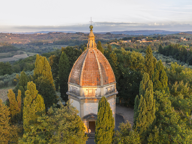 Semifonte Chapel and Petrognano, air view by Drone