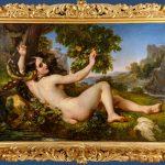 Olio su tela. Eva tentata dal serpente. Tettamanti Massimo antichità. 132X191 cm. tela 181X242 cm. cornice