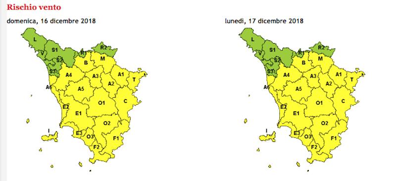 Vento e neve, allerta meteo gialla in gran parte della Toscana