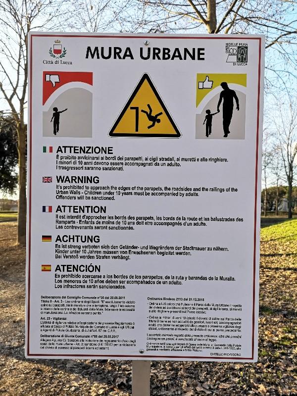 installazione 120 nuovi nuovi cartelli per segnalare i pericoli a Lucca