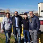 Gli assessori Calamai e Forastiero con Lorenzo Dalla Porta e il padre Massimiliano
