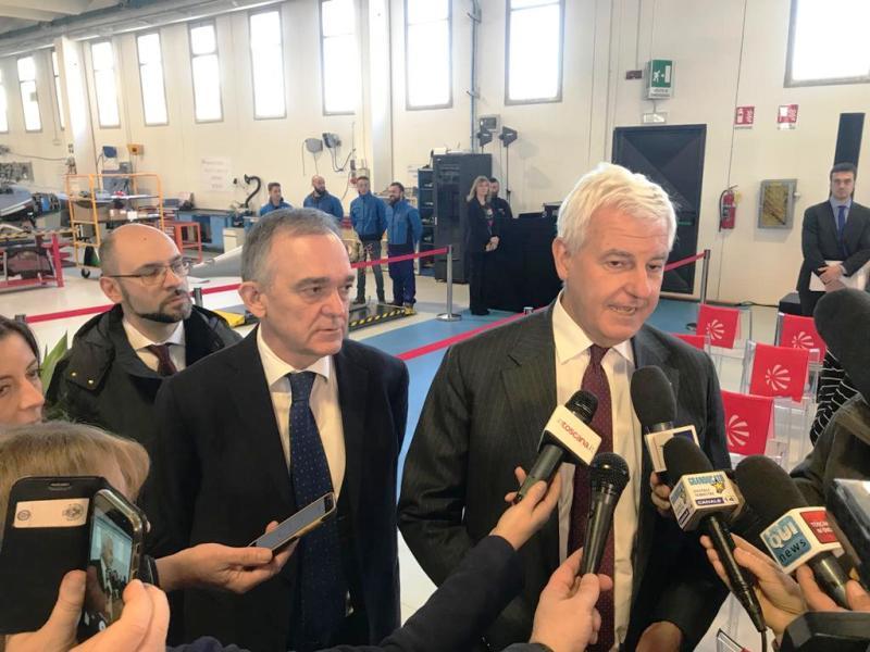 Enrico Rossi ringrazia Alessandro Profumo amministratore del gruppo Leonardo