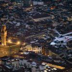 Firenze, elicottero A139 della Polizia di Stato in volo con 8° Reparto Volo di Firenze al crepuscolo sopra la città 2016-02-18 © Massimo Sestini