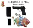 questura pisa pistola soldi sequestro