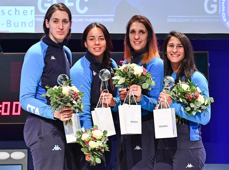 Tauberbischofsheim (GER) 5 May 2019 Women's Team foil World Cup. in photo: the podium with 1 RUSSIA, 2 FRANCE and 3 ITALY Photo Simone Ferraro/BizziTeam/FIE