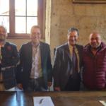 Da sinistra: Roberto Vagheggi, Marco Buselli, Roberto Pepi e Paolo Ciro Mercurio presidente dell'ASD Saline
