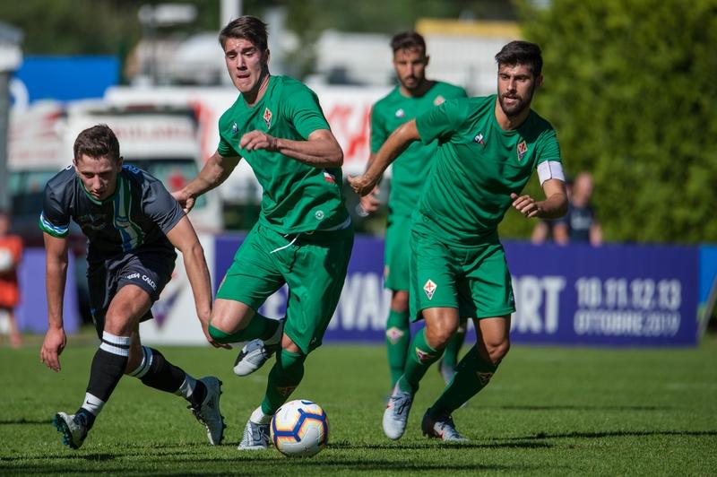 Moena (TN), giorno 5, amichevole tra Fiorentina e Val di Fassa Team, nella foto Dusan Vlahovic 2019 07 10 © Lorenzo Berti/Massimo Sestini
