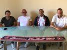 Nella foto: il nuovo allenatore Pino Murgia con il preparatore atletico Nicola Ricca il diesse Andrea Luperini e il presidente Massimo Donati