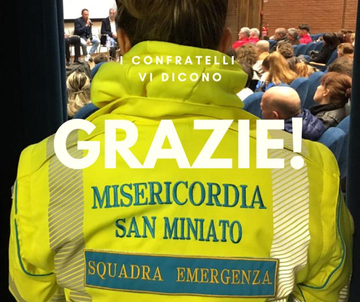 Donazioni alla Misericordia San Miniato per continuare le attività in emergenza Covid-19