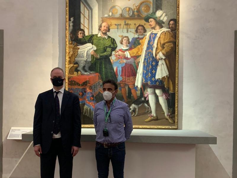 Il presidente dell'Empoli e quello del Napoli in visita agli Uffizi