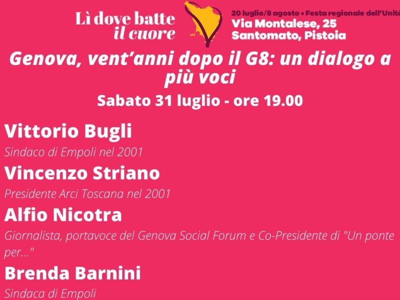 Festa de l'Unità a Santomato, si parla del G8 di Genova