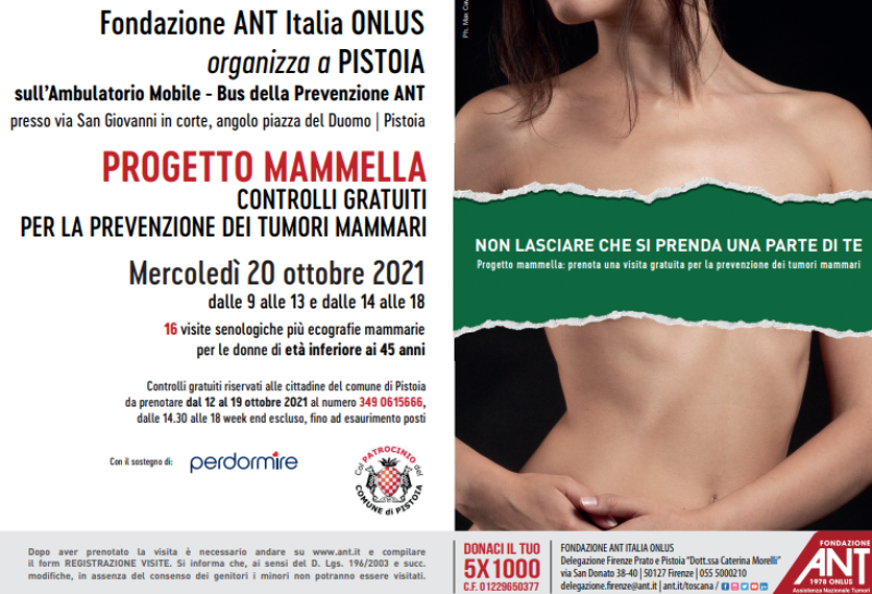 Visite al seno gratuite in piazza Duomo a Pistoia: prevenzione all'ambulatorio mobile ANT